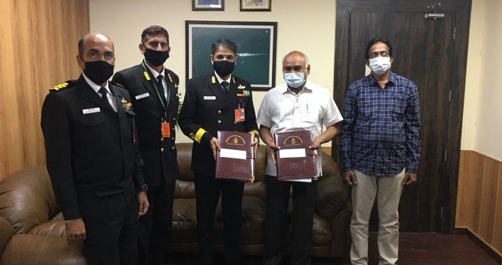 भारतीय नौसेना के लिए आठ मिसाइल सह गोला बारूद नौकाओं की खरीद हेतु मैसर्स सीकोन, विशाखापट्टनम के साथ अनुबंध पर हस्ताक्षर